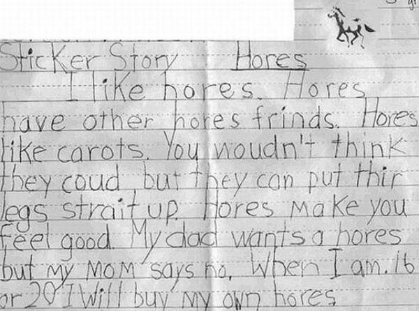 funny kid homework hores