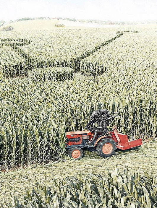 crop circles alien on tractor
