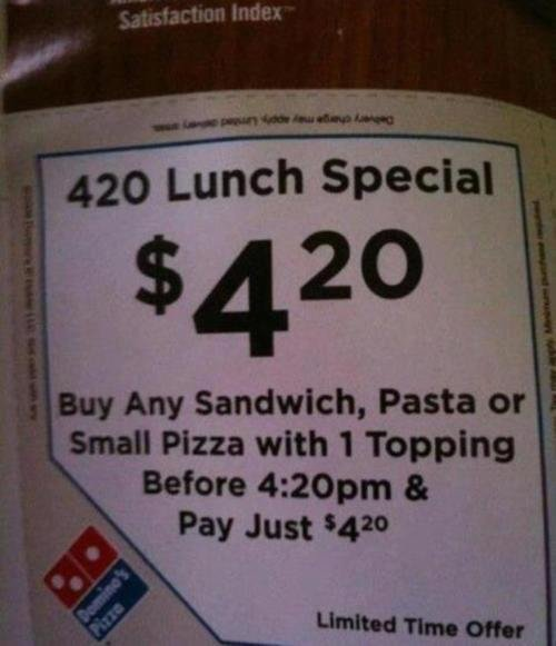 dominos 420 lunch special