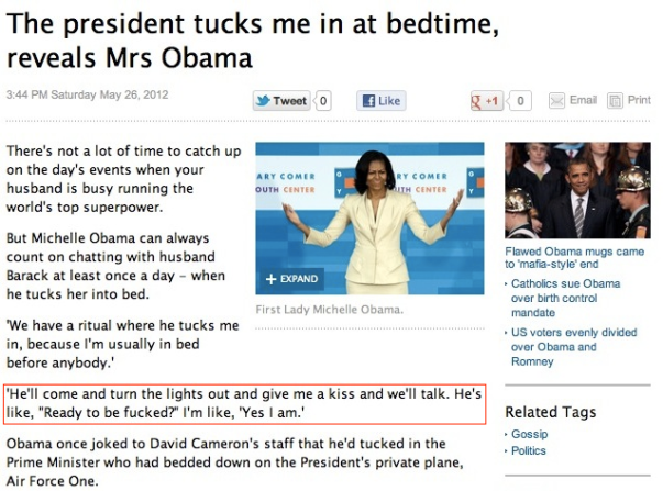 the president tucks me in at bedtime