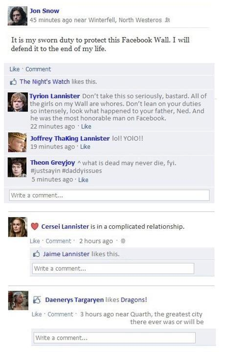 game of thrones characters on facebook